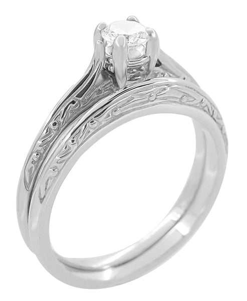 Art Deco Engraved Scrolls Diamond Engagement Ring and Wedding Ring Set in 14 Karat White Gold - Item: R670 - Image: 1