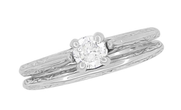 Art Deco Engraved Scrolls Diamond Engagement Ring and Wedding Ring Set in 14 Karat White Gold - Item: R670 - Image: 2