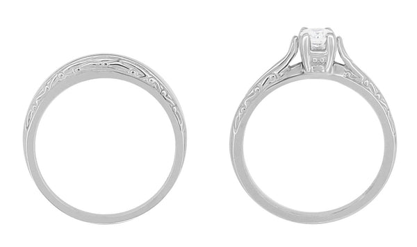 Art Deco Engraved Scrolls Diamond Engagement Ring and Wedding Ring Set in 14 Karat White Gold - Item: R670 - Image: 3
