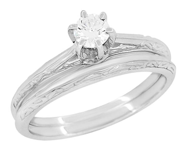 Platinum Vintage Engraved Art Deco Bridal Ring Set