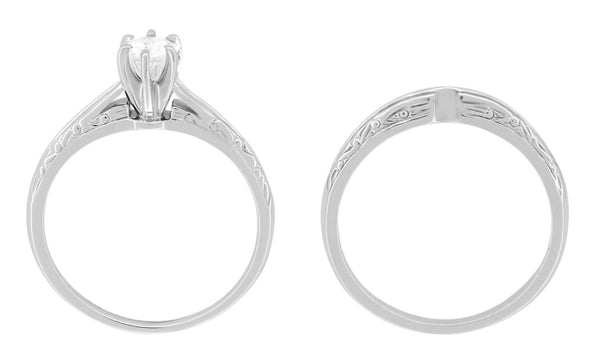 Side Platinum Art Deco Wedding Set For A Woman - 2 Ring Set