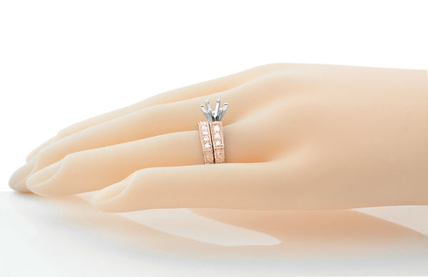 Art Deco Carved Scrolls 1/2 Carat Diamond Engagement Ring Setting and Wedding Ring in 14 Karat Rose Gold - Item: R723R - Image: 2