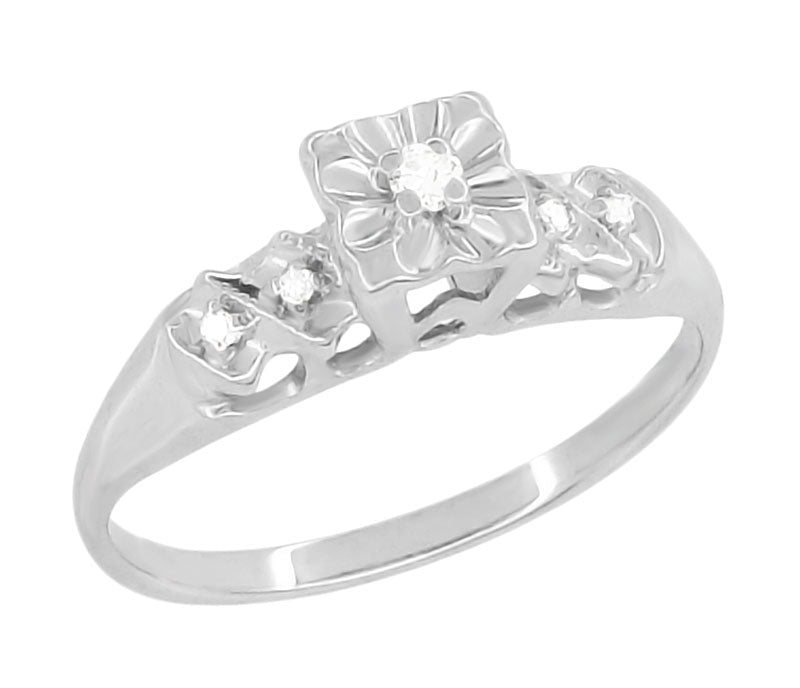 a3726201a5a16 Rylie Mid Century Modern Vintage Diamond Engagement Ring in 14K White Gold