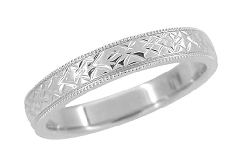 Vintage Mid Century Modern Wedding Band in White Gold with Carved Chevrons Pattern and Milgrain - 4mm - 18K and 14K - R803