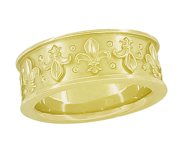 8mm Wide Vintage Fleur-de-Lis Wedding Band Ring Design in 14 Karat Gold - Item: R840 - Image: 1