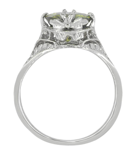 2.32 Carat Edwardian Filigree Leaves Oval Green Tourmaline Ring in 14K White Gold - Item: R843GT - Image: 3