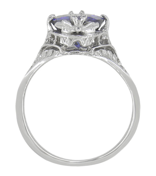 Edwardian Filigree 2 Carat Oval Violet Iolite Ring in 14 Karat White Gold - Item: R843i - Image: 3