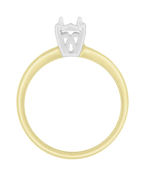 Mixed Metals 14K Yellow and White Gold Vintage Style Illusion Solitaire Ring Setting - for a 0.25, 0.33, 0.50, 0.64 Carat Diamond
