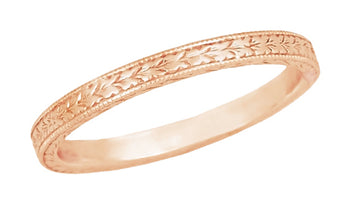Art Deco Engraved Wheat Wedding Band in 14 Karat Rose ( Pink ) Gold