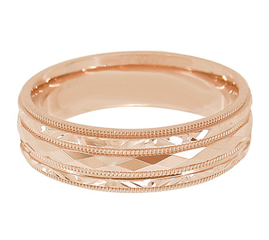 Retro Carved Kaleidoscope and Chevrons 14 Karat Rose Gold 6mm Wedding Band - Item: R859R - Image: 1