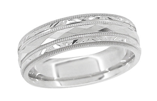 Kaleidoscope and Chevrons 6mm Wide Retro Engraved Wedding Band in 14K White Gold - Item: R859W - Image: 1