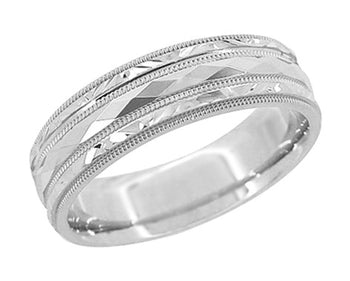 Kaleidoscope and Chevrons 6mm Wide Retro Engraved Wedding Band in 14K White Gold