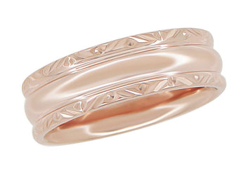 Circles and Chevrons 1950's 14K Rose Gold Retro Engraved Wedding Band - 6mm Wide