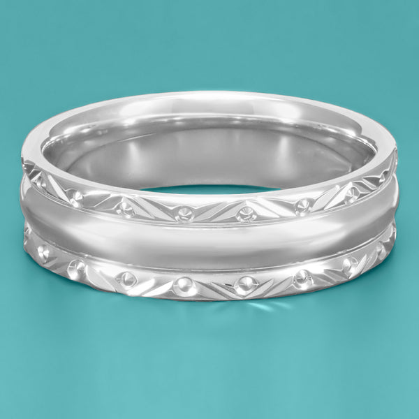 Circles and Chevrons 1950's Retro Carved Wedding Band in 14 Karat White Gold - Item: R860W - Image: 2