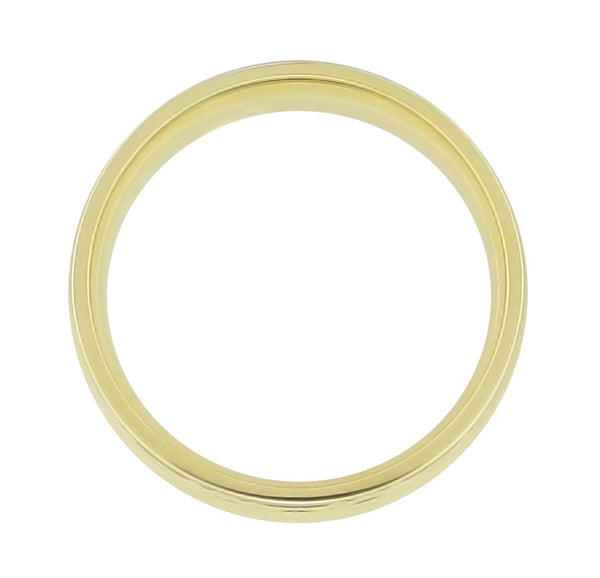 Mid Century Modern Circles and Chevrons Retro Engraved 6mm Wide Wedding Band in 14K Yellow Gold - Item: R860Y - Image: 1