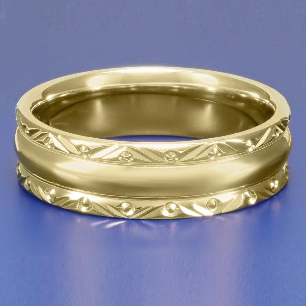 It is a picture of Mid Century Modern Circles and Chevrons Retro Engraved 43mm Wide Wedding Band in 43K Yellow Gold