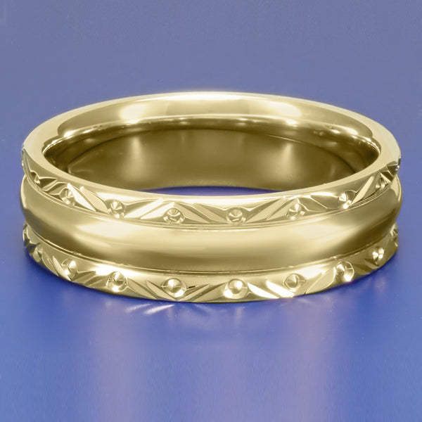 Mid Century Modern Circles and Chevrons Retro Engraved 6mm Wide Wedding Band in 14K Yellow Gold - Item: R860Y - Image: 2