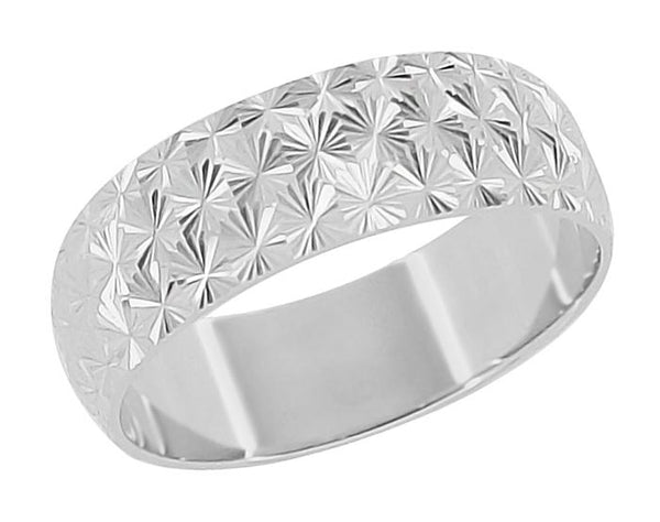 Mid Century Modern Vintage Starbursts Engraved Wedding Band in 14 Karat White Gold - 6mm Wide