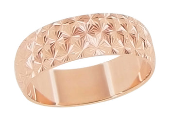 Mid Century Starbursts Engraved Wedding Band in 14 Karat Rose Gold ( Pink Gold )