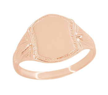 Victorian 14 Karat Rose Gold Small Pinky Signet Ring