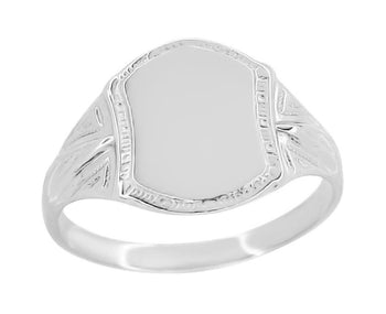 Small Victorian Shield Signet Ring in 14 Karat White Gold