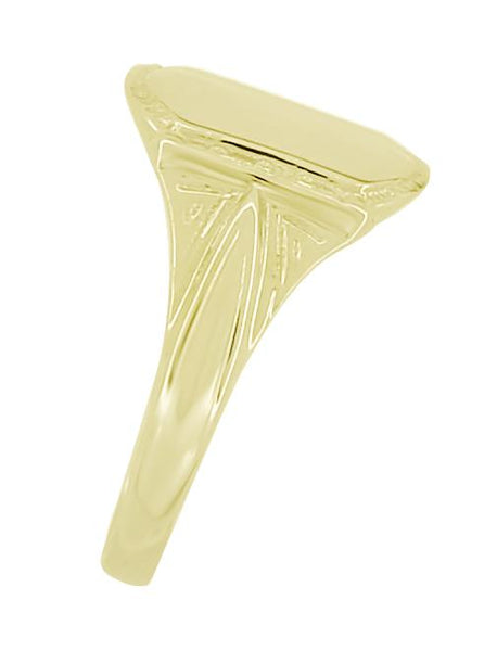 Victorian Vintage Style Small Yellow Gold Signet Ring - Item: R874Y - Image: 1