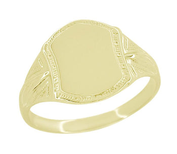 Victorian Vintage Style Small Yellow Gold Signet Ring
