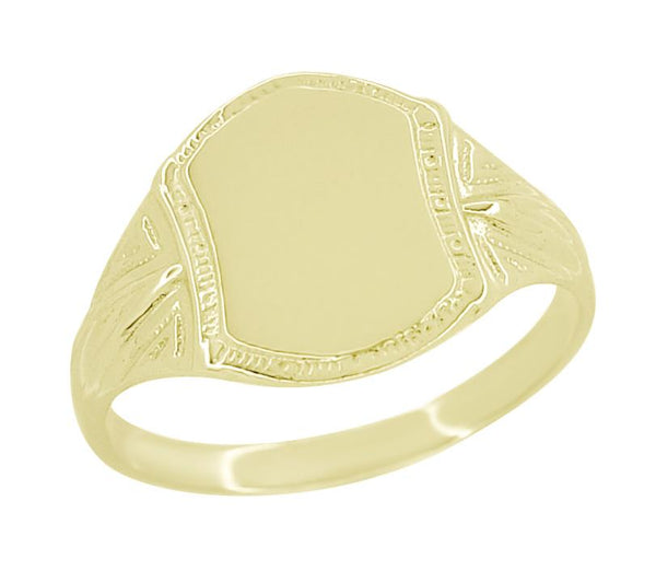 Yellow Gold Antique Victorian Signet Ring for Pinky Finger