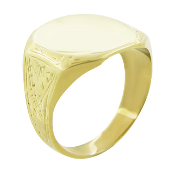 Mens Victorian Rectangular Sunburst Engraved Signet Ring in 14K Yellow Gold