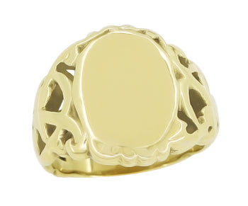 Art Nouveau Filigree Oval Signet Ring in 14 Karat Yellow Gold