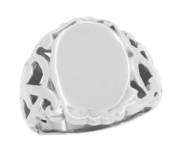 Art Nouveau Filigree Vines 14 Karat White Gold Oval Signet Ring