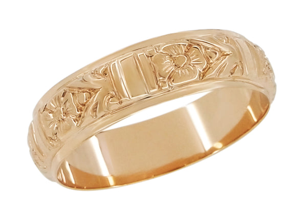18K Rose Gold Mens Antique Wedding Band Deeply Hand Carved Floral 6mm Wide - R885