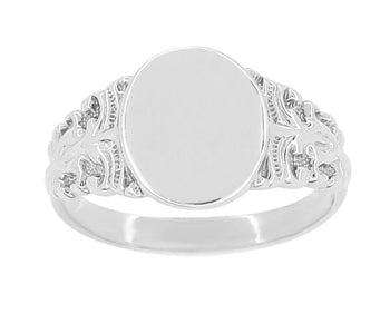 Fleur-de-Lis Victorian Oval Signet Ring in 14 Karat White Gold