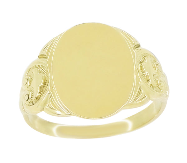 Men's Large Oval Victorian Signet Ring in 14 Karat Yellow Gold With Side Scroll Engraving