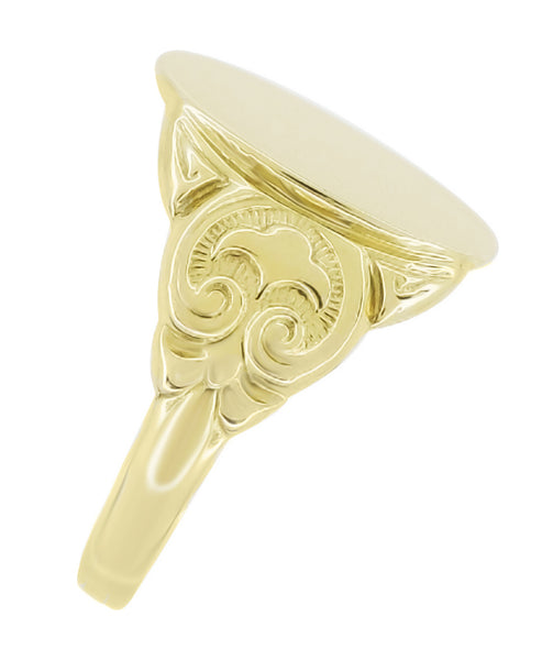 Men's Large Oval Victorian Signet Ring in 14 Karat Yellow Gold With Side Scroll Engraving - Item: R893 - Image: 1