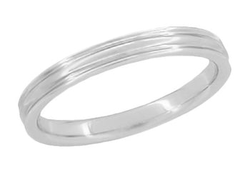 Retro Moderne 3mm Double Grooved Wedding Band Ring in 14 Karat White Gold | 1950s Design
