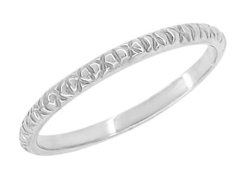 1950's Vintage Design Stackable Thin Wedding Band in 14 Karat White Gold