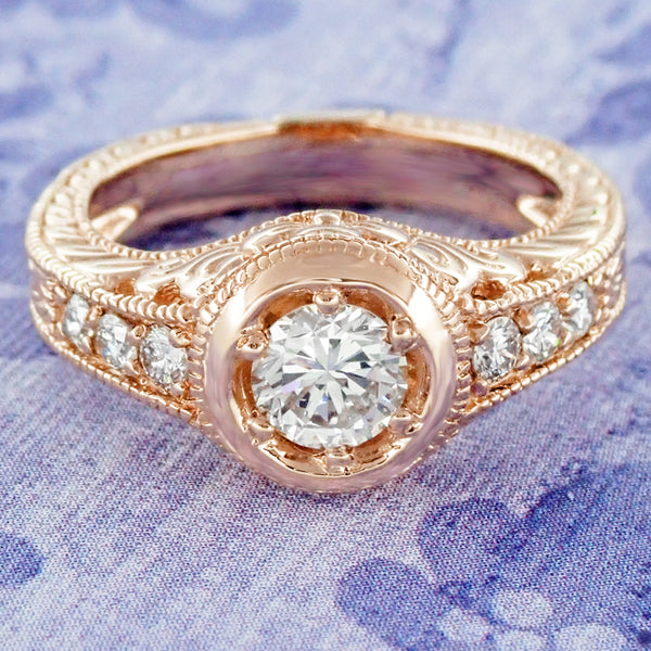 Rose Gold Art Deco Filigree Flowers & Scrolls 1/2 Carat Engraved Diamond Engagement Ring - Item: R990R50D - Image: 5