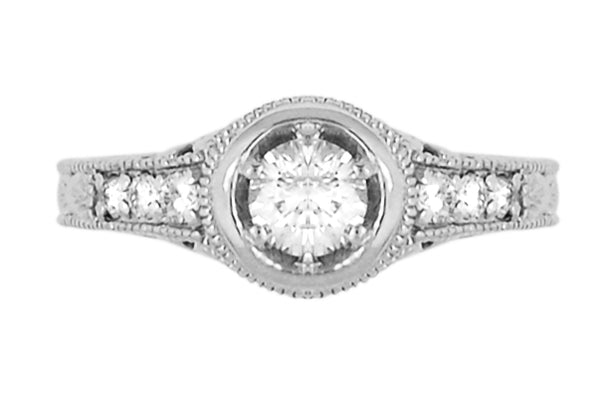 Art Deco Filigree Flowers and Scrolls Engraved 1 Carat Diamond Engagement Ring Setting in 18 Karat White Gold - Item: R990W18NS1 - Image: 3
