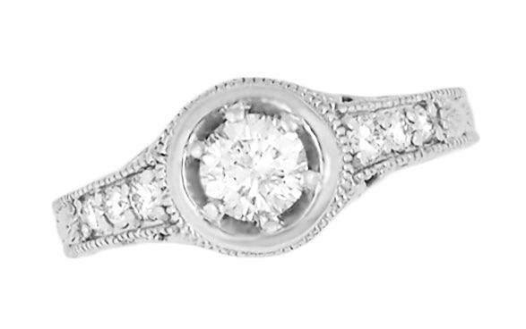 Art Deco Filigree Flowers and Scrolls Engraved 3/4 Carat Diamond Engagement Ring Setting in 18 Karat White Gold - Item: R990W18NS75 - Image: 1