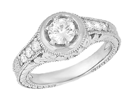 Art Deco Filigree Flowers and Scrolls Engraved 3/4 Carat Diamond Engagement Ring Setting in 18 Karat White Gold