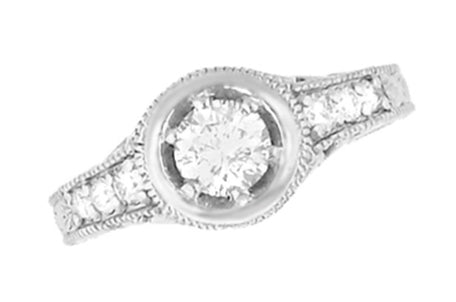 Art Deco Filigree Flowers and Scrolls Engraved 1 Carat Diamond Engagement Ring Setting in 14 Karat White Gold - Item: R990W1NS - Image: 2
