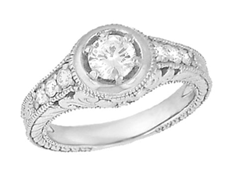 Art Deco Filigree Flowers and Scrolls Engraved Diamond Engagement Ring in 14 Karat White Gold