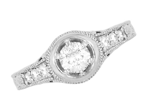 Art Deco Filigree Flowers and Scrolls Engraved Diamond Engagement Ring in 14 Karat White Gold - Item: R990W25 - Image: 1