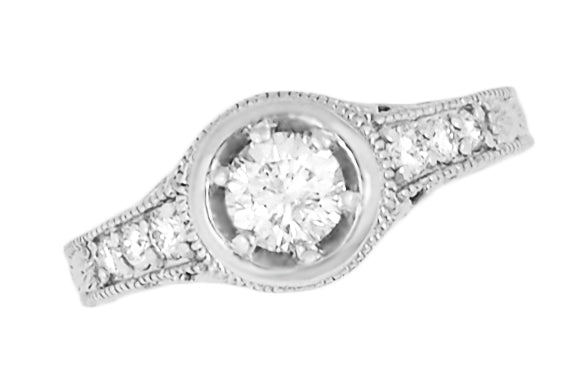 Top Low Profile Halo Diamond Engagement Ring - Vintage Style - R990W50