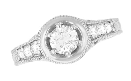 Art Deco Filigree Scrolls and Flowers Carved Low Profile 3/4 Carat Diamond Engagement Ring Setting in White Gold - 14K or 18K - Item: R990W75NS - Image: 3