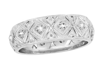 Art Deco Milton Antique Wide Diamond Wedding Band in Platinum - Size 5