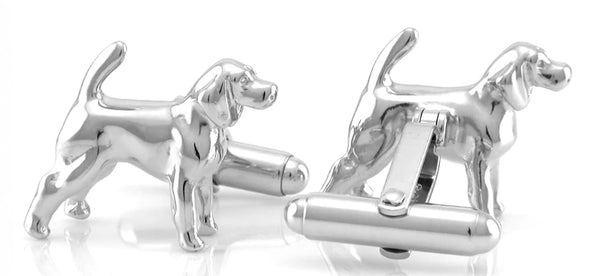 Back of Beagle Hound Cufflinks - Solid Sterling Silver - SCL107