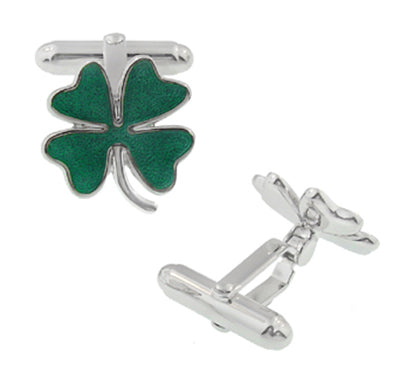 Lucky Four Leaf Clover Shamrock Enameled Cufflinks - Solid Sterling Silver - Item: SCL120E - Image: 1