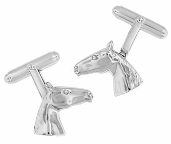 Horse Head Cufflinks in Solid Sterling Silver